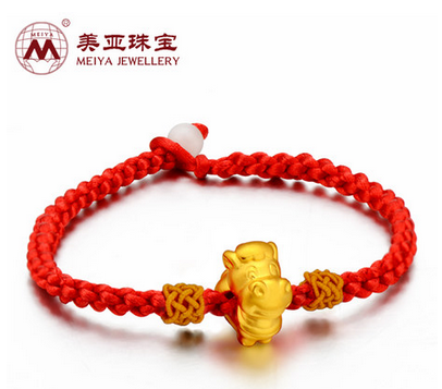 3D硬金24K/999千足金马本命年生肖转运珠 黄金红绳手链吊坠升级版