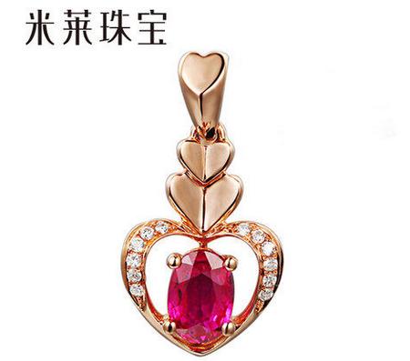 60分缅甸纯天然红宝石项坠 18K玫瑰金镶嵌钻石项链吊坠 女人最爱J