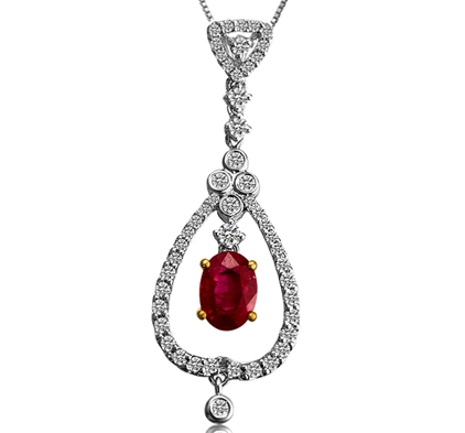 【幸福人生】 天然红宝石白18K金女士吊坠