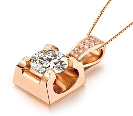 【青玉】 玫瑰金钻石吊坠
