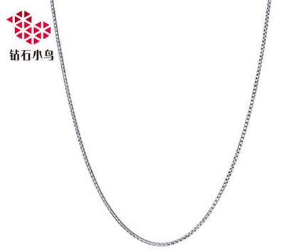 【钻石小鸟】白18K金项链女款百搭时尚项链 吊坠必备盒仔链 正品