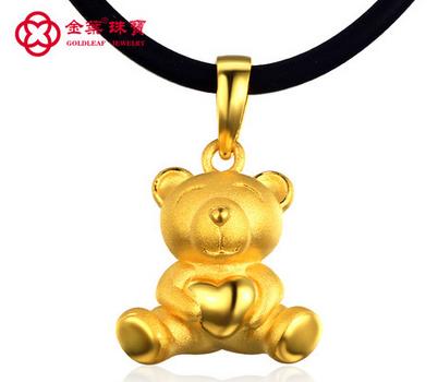 金叶珠宝 抱心熊 3D硬千足金项坠999黄金吊坠 女款小熊挂坠 硬金