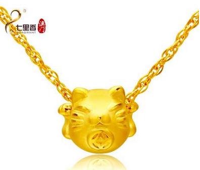 七里香珠宝 女款 999千足金吊坠转运珠 招财猫 猫咪 24K黄金项链