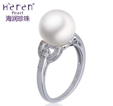 Heren/海润珍珠白色18K金天然海水珍珠戒指10-11mm正品