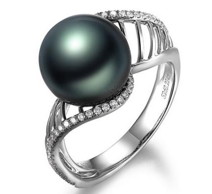 【爱情天梯】 天然大溪地黑珍珠白18K金女士戒指