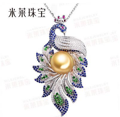 13.39mm南洋天然金色珍珠吊坠 18K白金蓝宝石镶嵌1.85克拉钻石