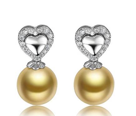 【花容月貌】 天然南洋金珍珠黄18K金女士耳坠