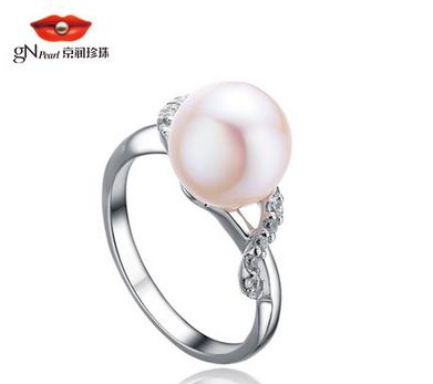 京润珍珠 婉约 珍珠戒指 纯银戒指 女戒时尚简约送女友包邮特价