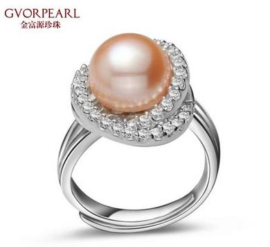 金富源珍珠 天然淡水珍珠戒指10.5-11mm大颗粒彩色珍珠【唯美】款