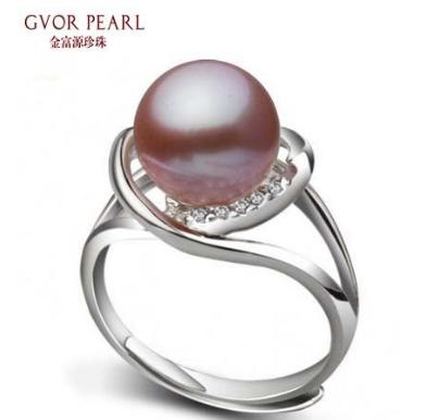 金富源珠宝 天然珍珠戒指 10-10.5mm 强光正圆 925银【紫色情迷】