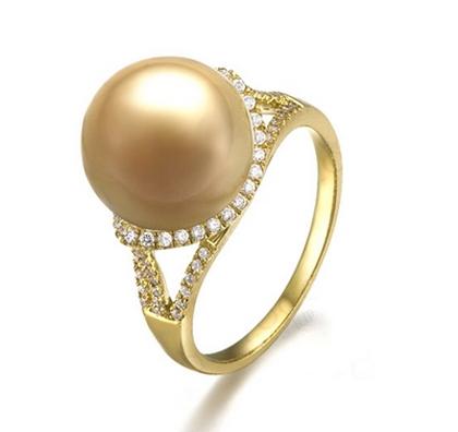 【金色年华】 天然南洋金珍珠黄18K金女士戒指
