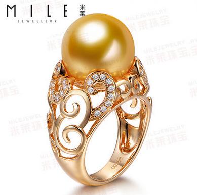 12mm澳大利亚南洋金珠戒指 天然正品 18K金钻石珍珠戒指环女款
