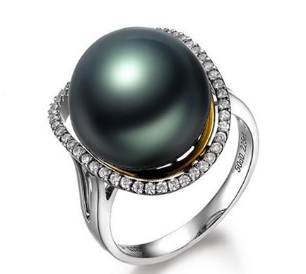 【众星伴月】 天然大溪地黑珍珠白18K金女士戒指