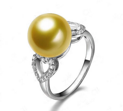 佐卡伊佐卡伊白18k金南洋珠镶钻石女戒南洋金珍珠戒指