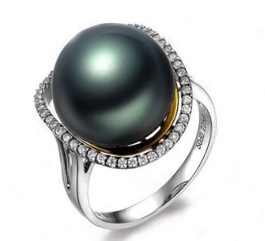 白18k金镶钻石大溪地黑珍珠戒指女戒佐卡伊正品专柜