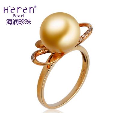 Heren/海润珍珠黄色18K金天然海水珍珠戒指11-12mm正品