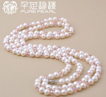 千足珍珠毛衣链120cm长款少瑕焕彩多层毛衣链 6.5-7.0mm近圆