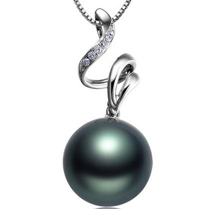 【清雅】 天然大溪地黑珍珠白18K金女士吊坠