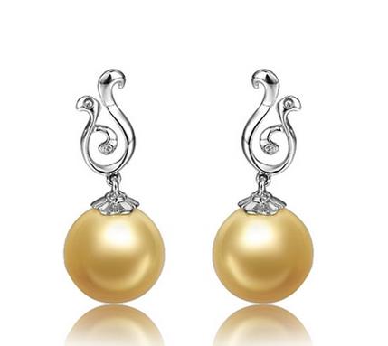 【凤鸣】 天然南洋金珍珠白18K金女士耳坠