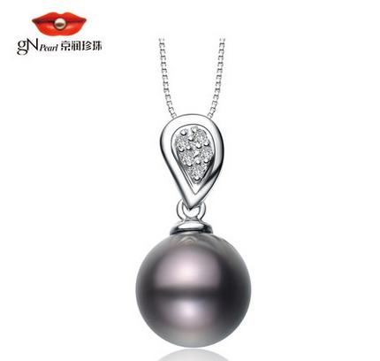京润珍珠 18K金镶嵌海水珍珠吊坠 大溪地珍珠