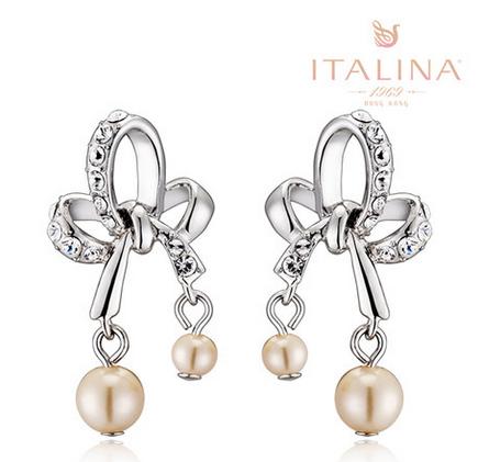 伊泰莲娜饰品正品 合金镀金 婉蝶水晶水钻珍珠 女款耳环
