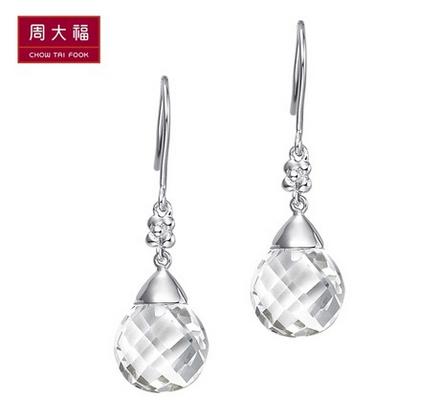 CTF周大福水滴925银水晶耳环AN 5796