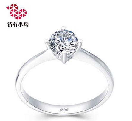 【钻石小鸟】 白18K金钻石女戒结婚婚戒钻戒戒指-捧月