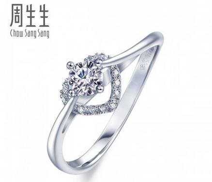 周生生18K白色黄金炫动钻石戒指订婚结婚女钻戒真人秀49094R