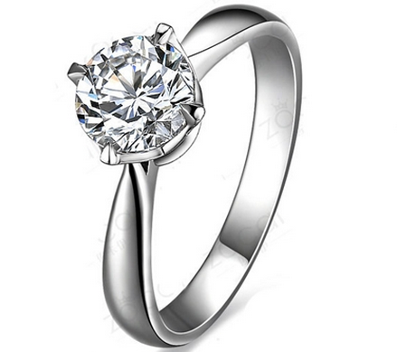 【清澈星光】 白18K金60分/0.6克拉钻石女士戒指