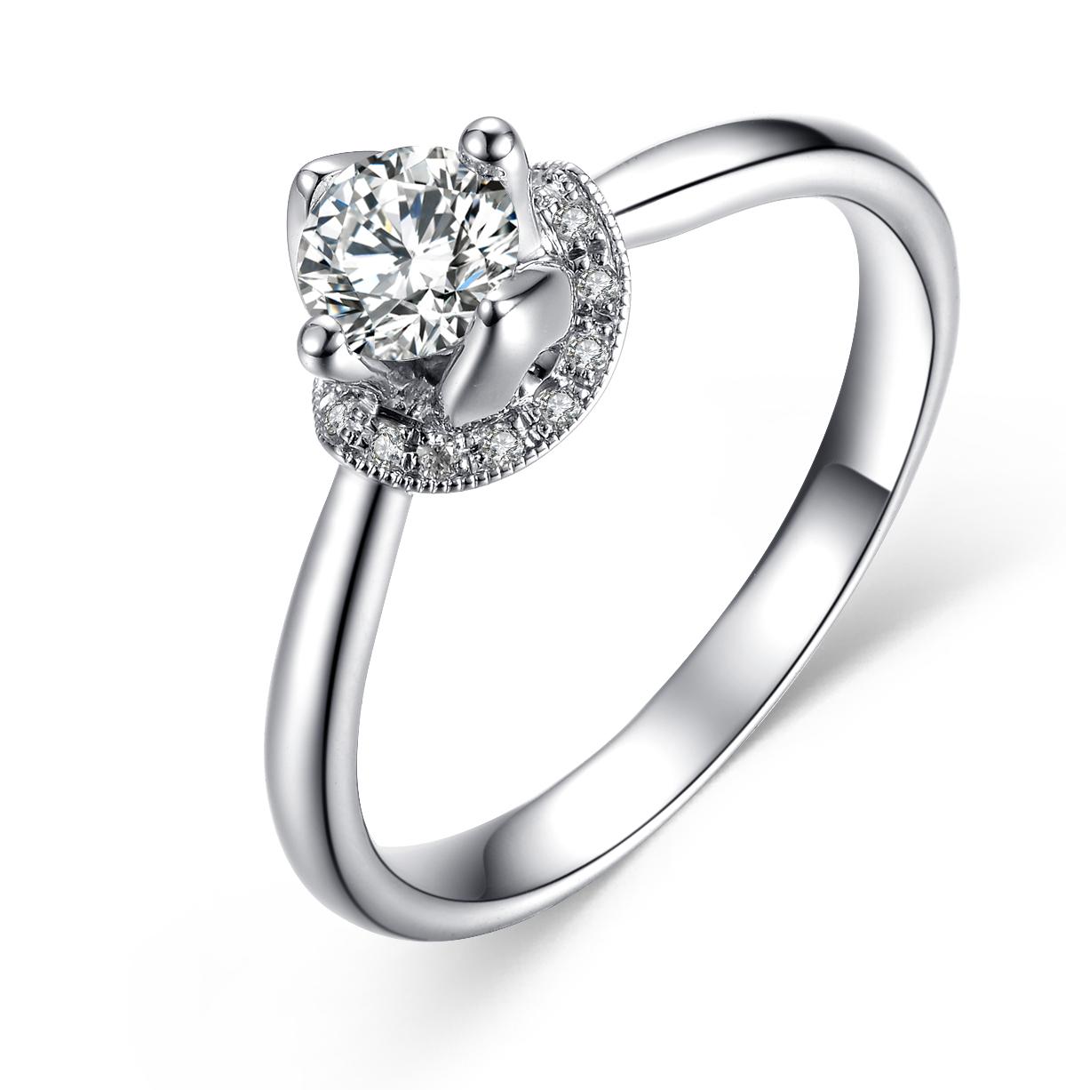 【雅蕊】 白18K金35分/0.35克拉钻石女士戒指
