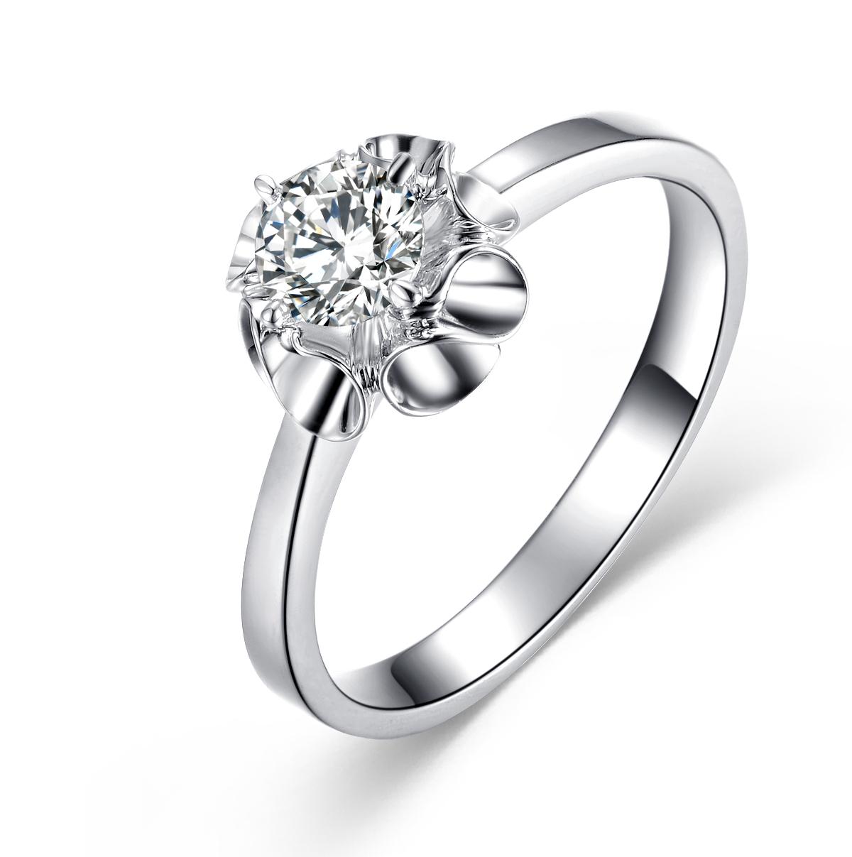 》》点击进入【慕晴】 白18K金35分/0.35克拉钻石女士戒指