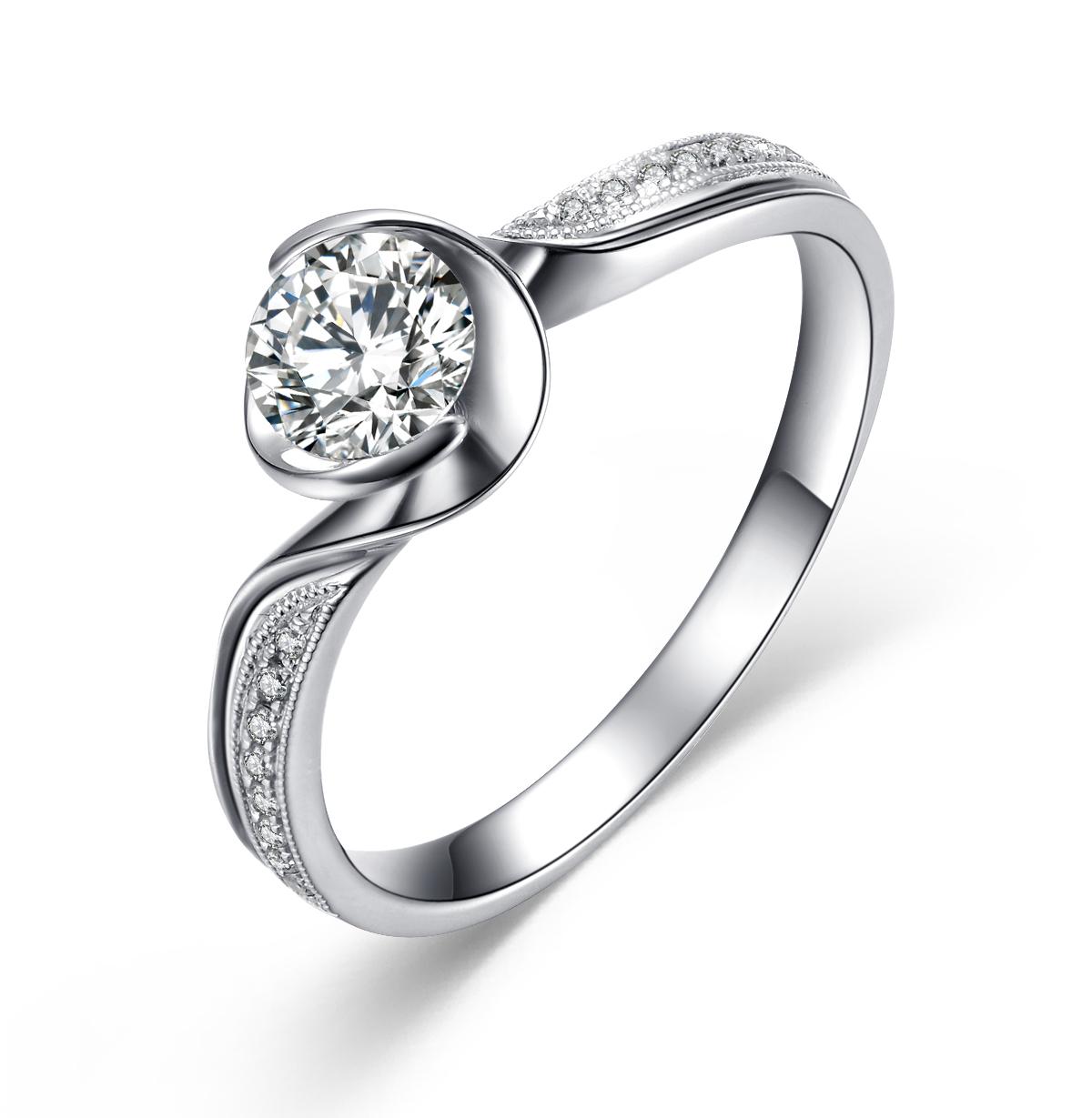 》》点击进入【爱的约定】 白18K金50分/0.5克拉钻石女士戒指