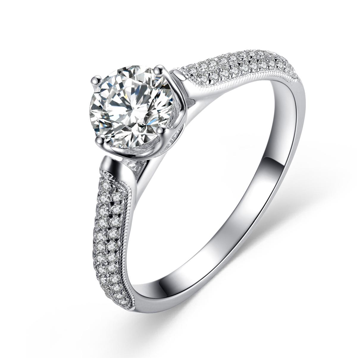 》》点击进入【神话】 白18K金60分/0.6克拉钻石女士戒指