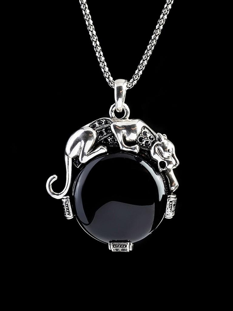 黑水晶狮子座项链