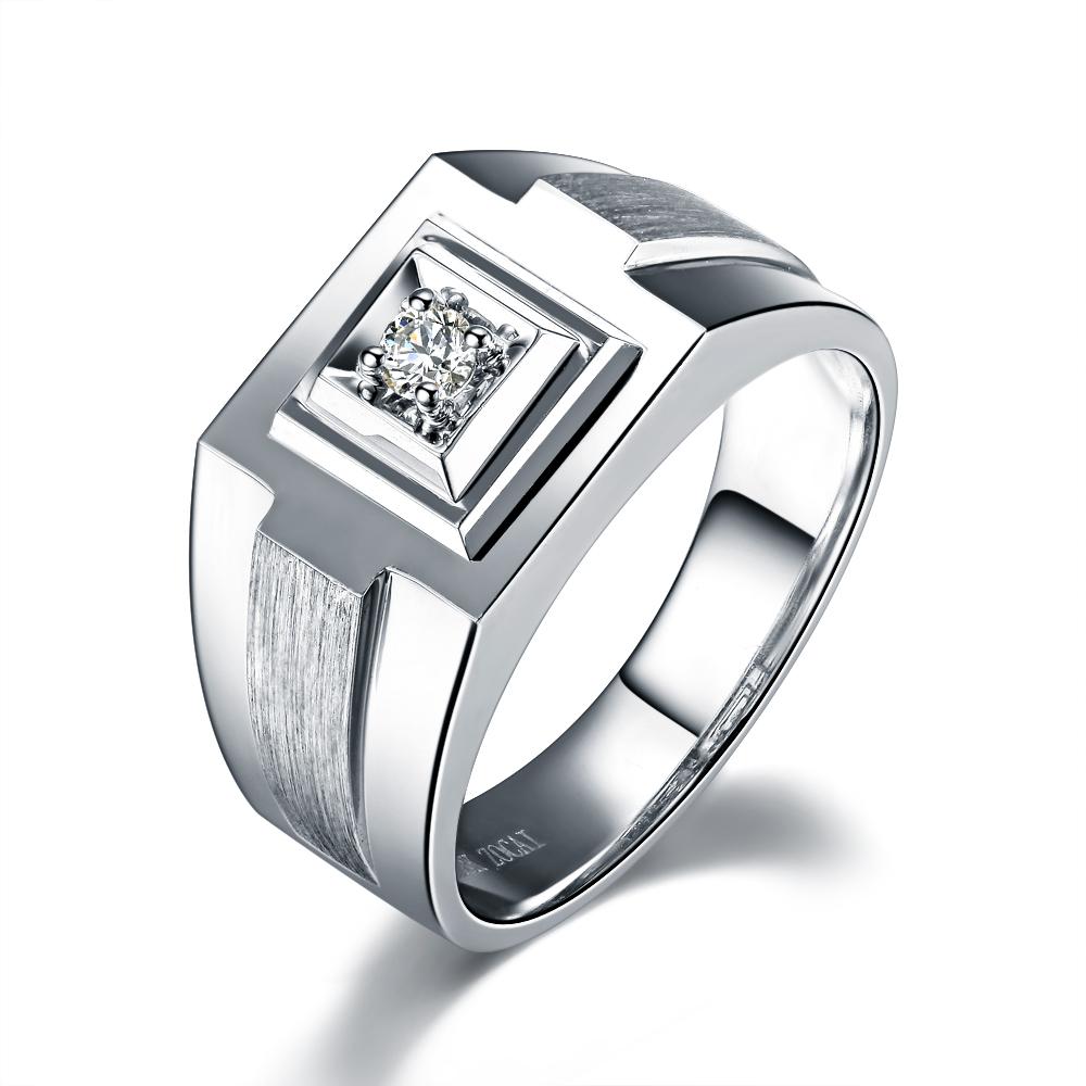 》》点击进入【辰逸】 白18k金8分/0.08克拉钻石男士戒指