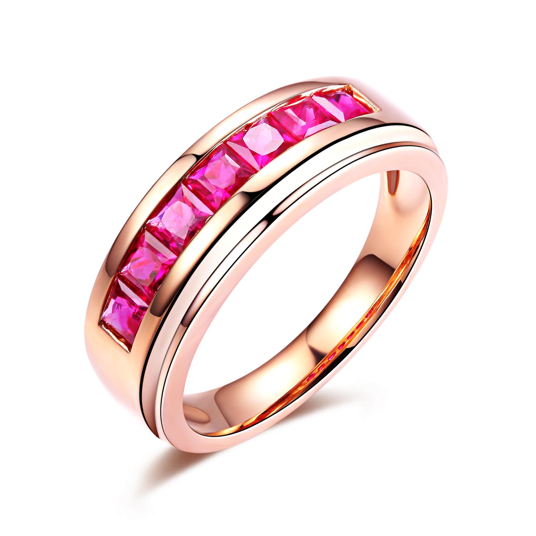 【倾心】 玫瑰18K金红宝石女士戒指