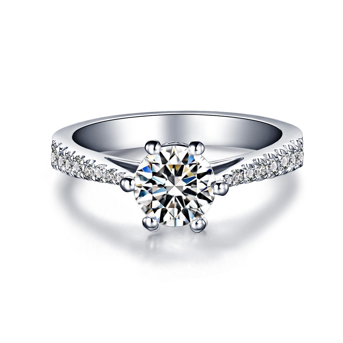 》》点击进入【星月】 白18K金30分/0.3克拉钻石女士戒指