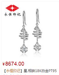 星.相映18K白金PT950钻石耳钉