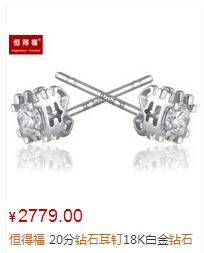 恒得福20分钻石耳钉18K白金钻石耳钉女款