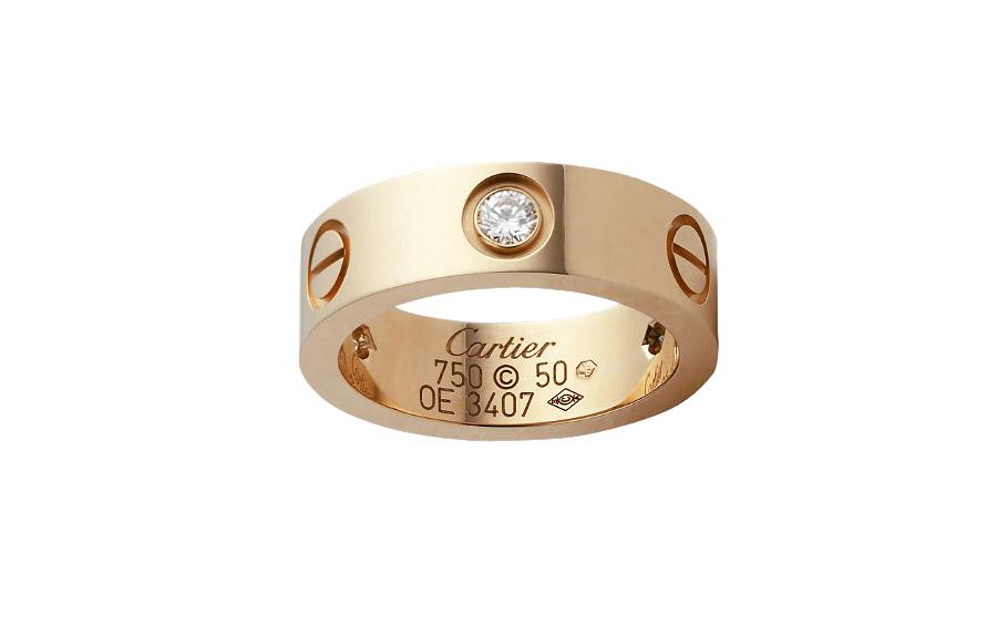 卡地亚18k玫瑰金戒指