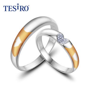 TESIRO通灵珠宝18K金岁月留痕系列恒信钻石对戒/情侣戒/按对出售
