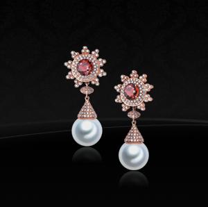 阮仕珍珠盛宠系列红宝石珍珠耳环