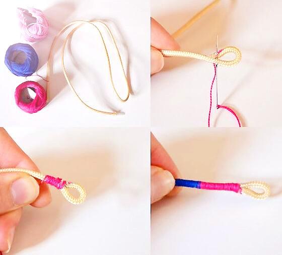 制作步骤:制作方法说白了就是最原始的一圈圈的缠绕就可以了。先拿一条红绳对半折好,或者在线头部位弄一个圈,用针线缝好也可以,然后用另一根红绳开始绕,直到整根都被覆盖,中间穿上幸运珠,得到你想要的长度位置,再打个纽扣结,一根漂亮的幸运珠手链就编好啦,是不是非常简单呀?下面给大家看一个步骤图,大家肯定一看就会了!