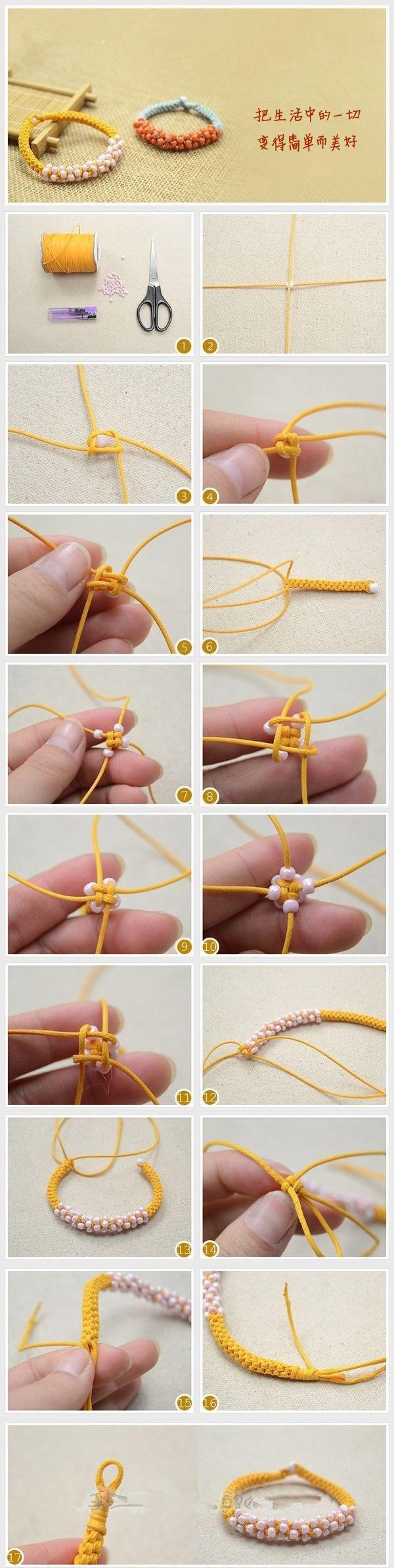 圆柱形手链编法教程 圆柱形串珠手链编法图解