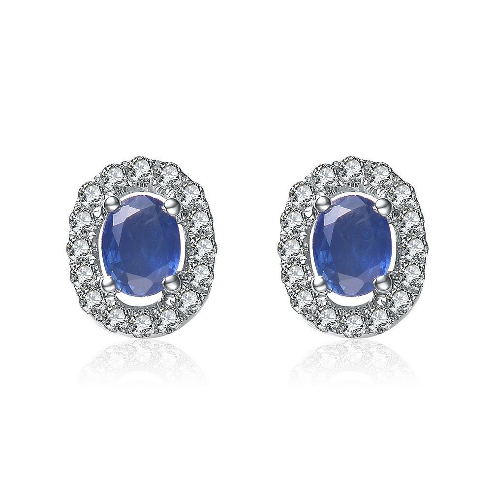 蓝宝石耳钉