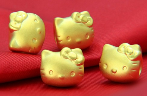 3d硬金,kitty猫吊坠,黄金