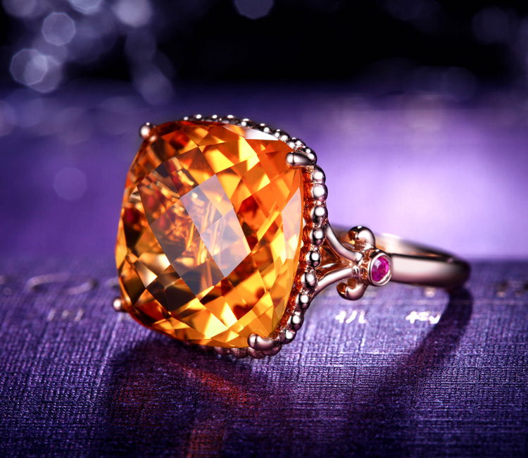黄水晶,戒指