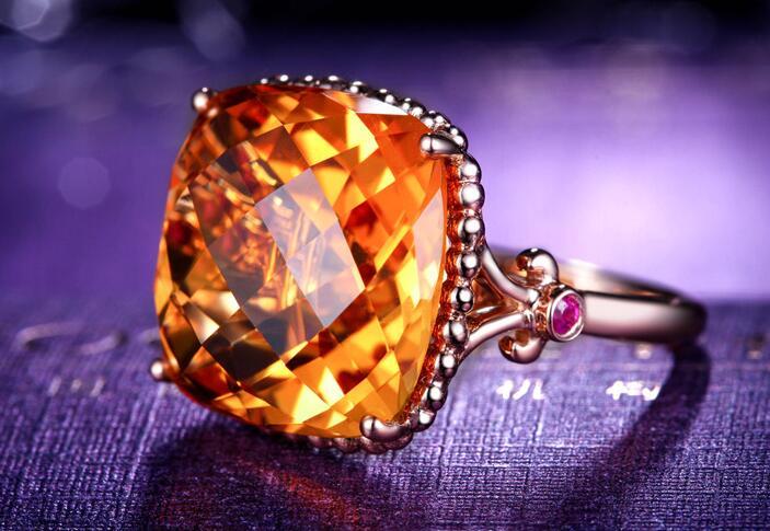 黄水晶戒指
