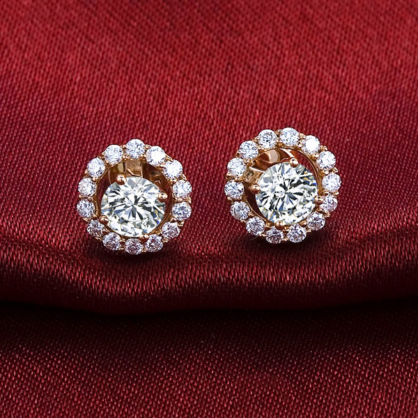 玫瑰金耳钉,玫瑰金首饰,钻石首饰