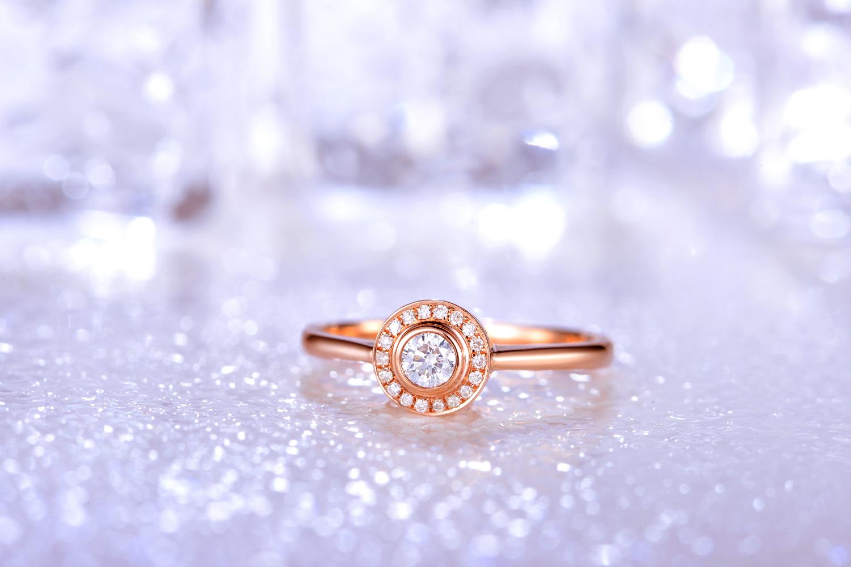 佐卡伊珠宝网 戒指 钻石戒指 k金钻石戒指 玫瑰金钻石戒指